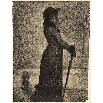 Georges Seurat - French Woman Strolling Poster Print Giclee