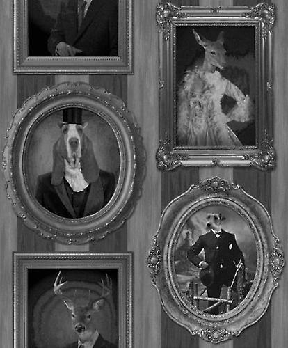 Muriva Dogs Frames Photo's Picture Black White Vintage Feature Wallpaper