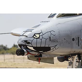 Nærbilde av GAU-8 Avenger pistolen på en A-10 Thunderbolt II plakat ut av Rob EdgcumbeStocktrek bilder
