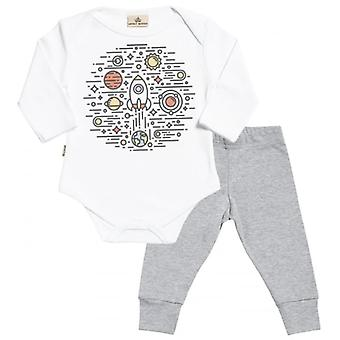Spoilt Rotten Space Circle Babygrow & Baby Jersey Trousers Outfit Set