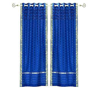 Bezaubernde blaue Hand gefertigt Tülle Top schiere Sari Vorhang Panel - Stück