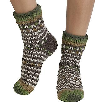 Santiago warm handmade wool bed/ sofa socks in green | By Pachamama