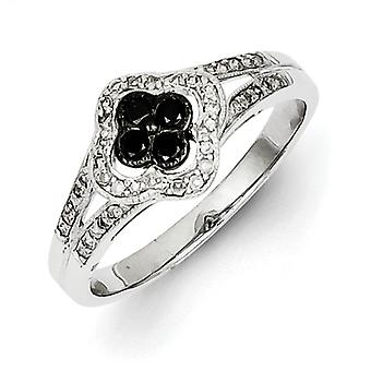 Sterling Silver Polished Prong set Open back Gift Boxed Rhodium-plated Black and White Diamond Ring - Size 7