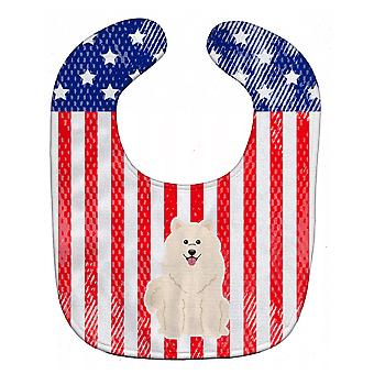 Carolines Treasures  BB3025BIB Patriotic USA Samoyed Baby Bib