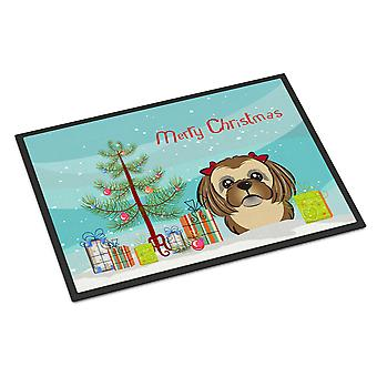 Christmas Tree and Chocolate Brown Shih Tzu Indoor or Outdoor Mat 18x27
