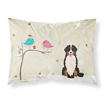 Regalos de Navidad entre amigos Bernese Mountain Dog tela estándar Pillowca