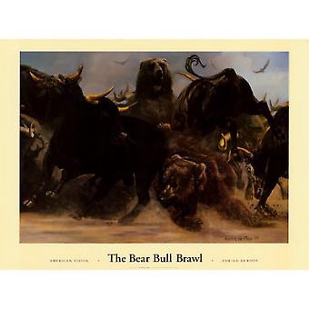 La stampa di Poster di rissa Bear Bull di Adrian De rooy (36 x 27)