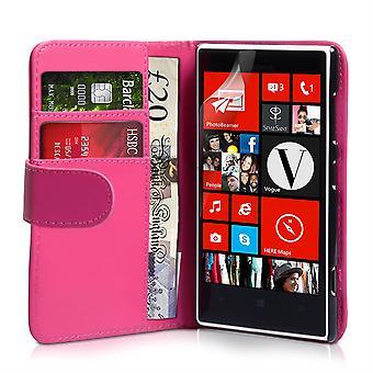 Nokia Lumia 720 Lederoptik Wallet Case - Hot Pink