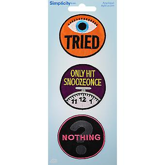 Wrights Iron-On stoffen Badges 3/Pkg-Adulting 19350-22001