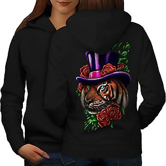 Тигра цветок шляпу обратно BlackHoodie животных женщин | Wellcoda
