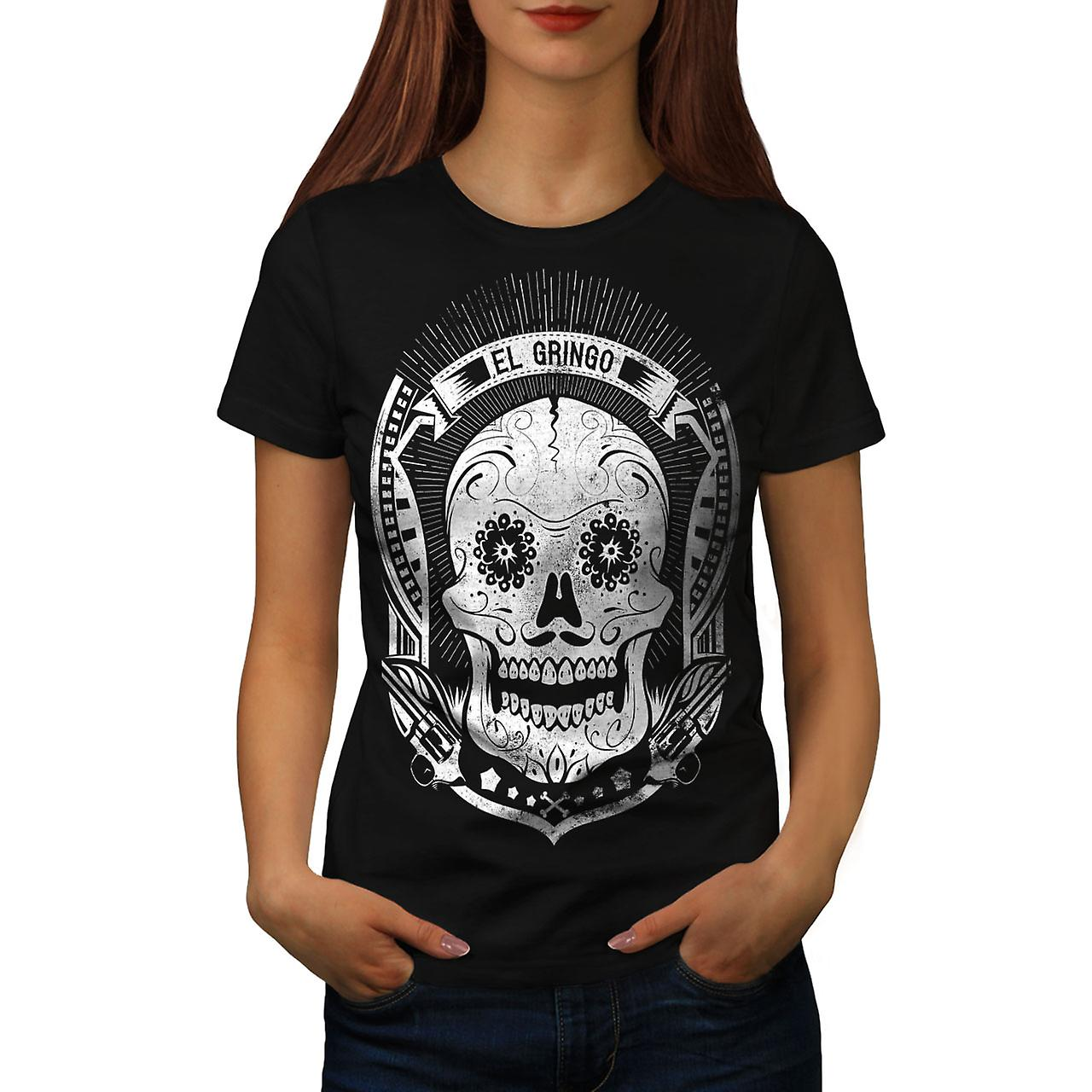 Mexican Skull Death Women Black T-shirt | Wellcoda