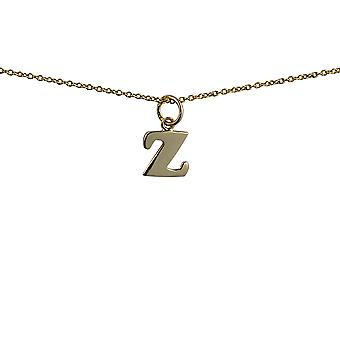 9ct Gold 10x10mm plain Initial Z Pendant with a cable Chain 16 inches Only Suitable for Children