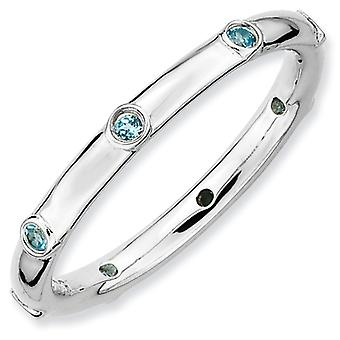 Sterling Silver Bezel Polished Rhodium-plated Stackable Expressions Blue Topaz Ring - Ring Size: 5 to 10
