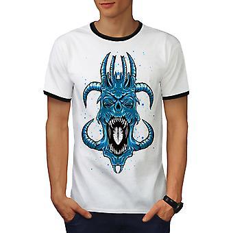 Azul Satanás Horror Fantasy hombres blanco / camiseta BlackRinger | Wellcoda