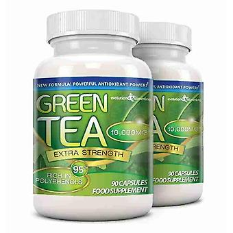 Green Tea Extra Strength 10,000mg with 95% Polyphenols - 180 Capsules (2 Months) - Antioxidant - Evolution Slimming