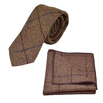 Luxury Peanut Brown Herringbone Check Tie & Pocket Square Set, Tweed