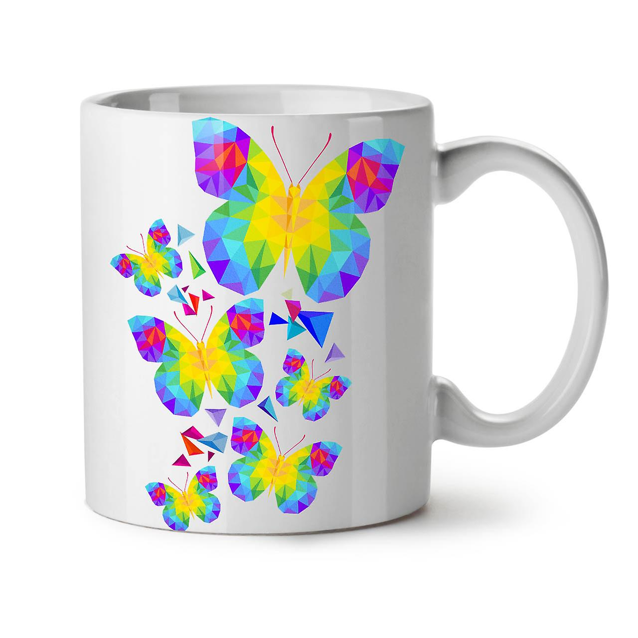 Nouveau Café Tasse Céramique Blanc OzWellcoda Papillon Polygonale Thé 11 OuTPkXilwZ