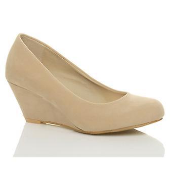 Ajvani womens low mid heel wedge round toe smart work court shoes pumps