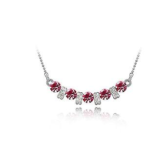 Womens Salmon Pink Stone Pendant Necklace