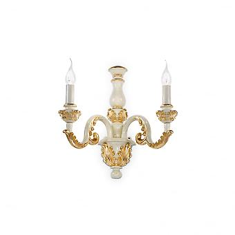 Ideal Lux Giglio Gold And Ivory White Twin Candle Wall Sconce