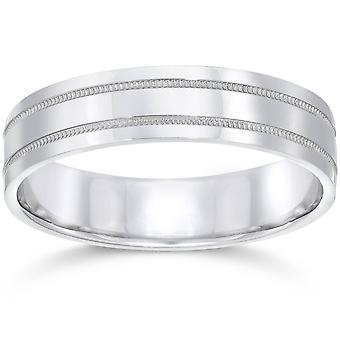 5mm Flat Double Milgrain Wedding Band 10K White Gold