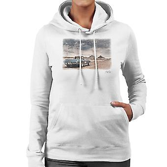 Chevrolet Corvette Stingray Convertible Desert Drive White Women's Hooded Sweatshirt