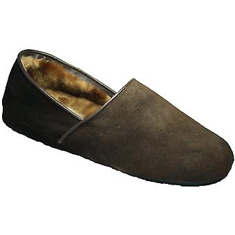 Mirak Mens David Slip On Suede Leather Textile Lined Slipper Brown