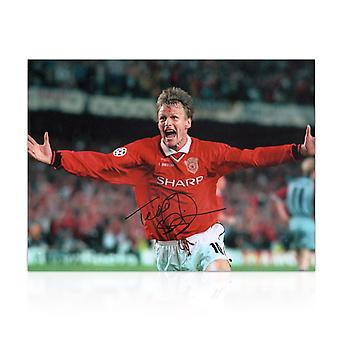 Teddy Sheringham Signed Manchester United Photograph: Champions League Goal
