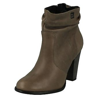 Ladies Harley Davidson Heeled Ankle Boots Stone Brook - Grey Scrunch Leather - UK Size 7.5 - EU Size 41 - US Size 9.5