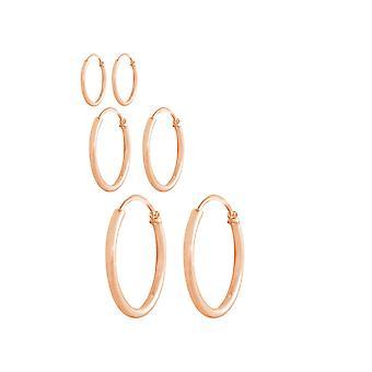 Orecchini a cerchio in oro-placcato rosa argento 925 GEMSHINE infinite orecchini a cerchio in un design classico in dimensioni da 12 mm - 40 mm., fatto a Madrid / Spagna