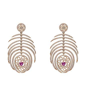 Peacock Statement Feather Earring Rosegold