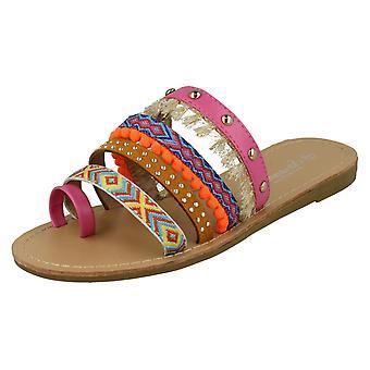 Las señoras Savannah lazo del dedo del pie plano Strappy sandalias F00055
