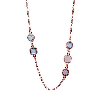 Orphelia Silver 925 Necklace Rose with Multicolored Stones 90 CM