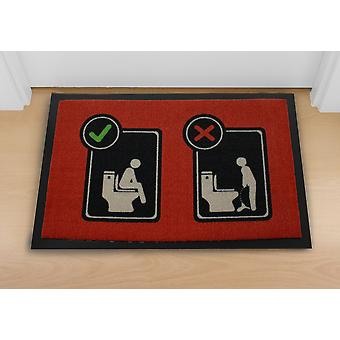 Toilet floor mat red, made of polypropylene, non-slip PVC rubber bottom.