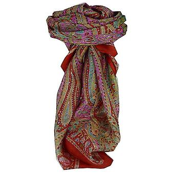 Mulberry Silk Traditional Square Scarf Mithi Red by Pashmina & Silk