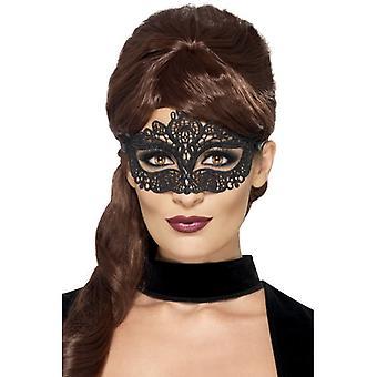 Augenmaske schwarz edel Stickerei Venezia