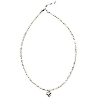 Beginnings Rice Pearl Heart Drop Necklace - White