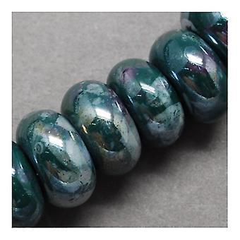 Packet 10 x Teal Porcelain 10 x 15mm Pearlised Plain Rondelle Beads HA27285