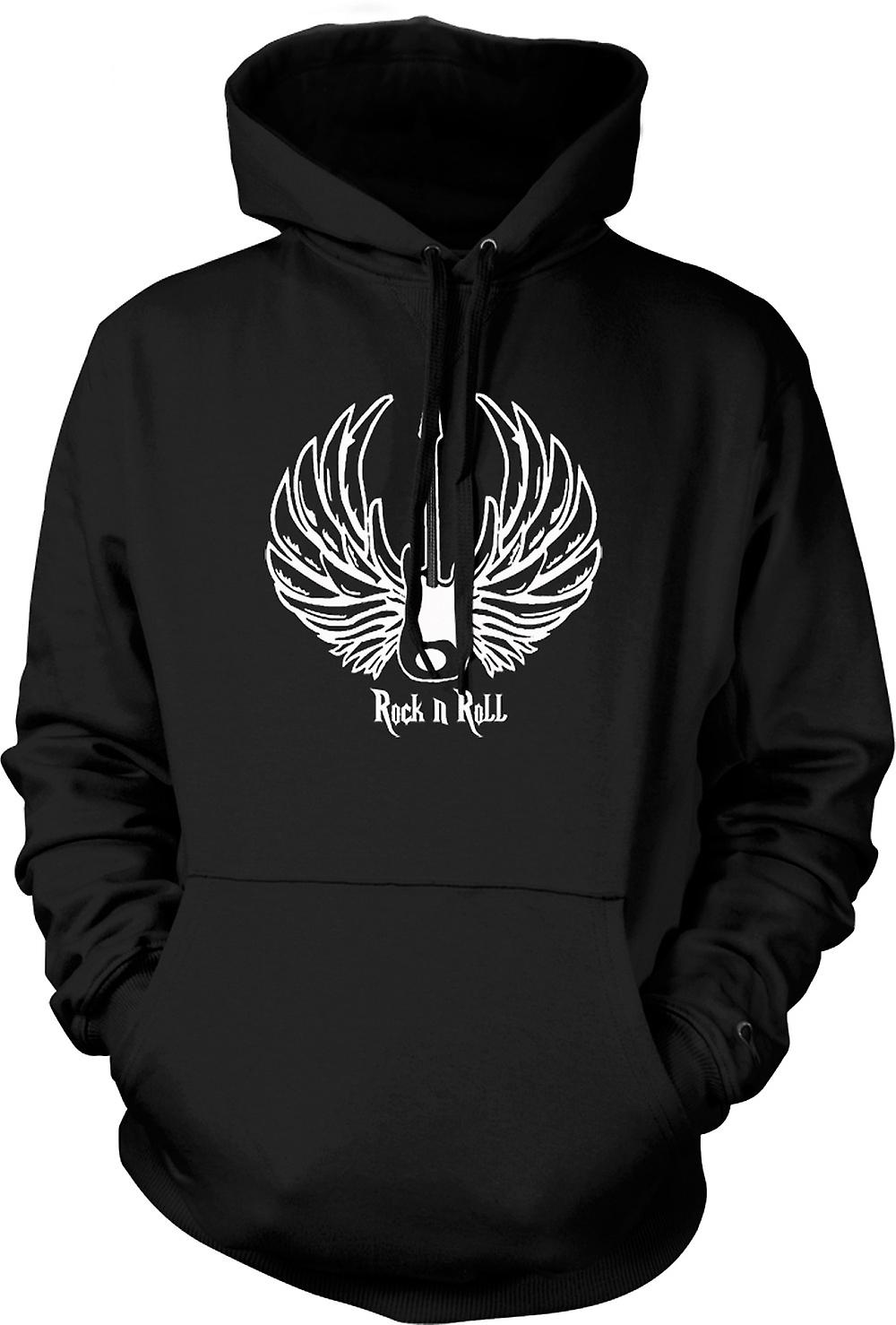 Mens Hoodie - Rock n Roll - Guitar Wings - Music