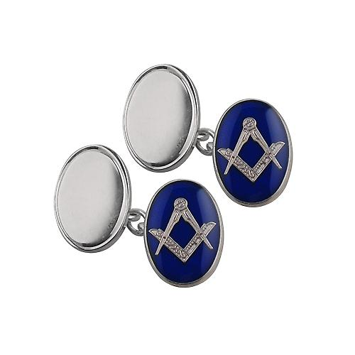 Silver 19x13mm oval cold cure enamel Masonic chain Cufflinks