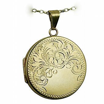 9ct золота 29 мм плоские круглые половина ручной гравировкой медальон с Белчер цепь 24 дюймов