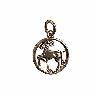 9ct oro 11mm perforado Aries zodiaco colgante