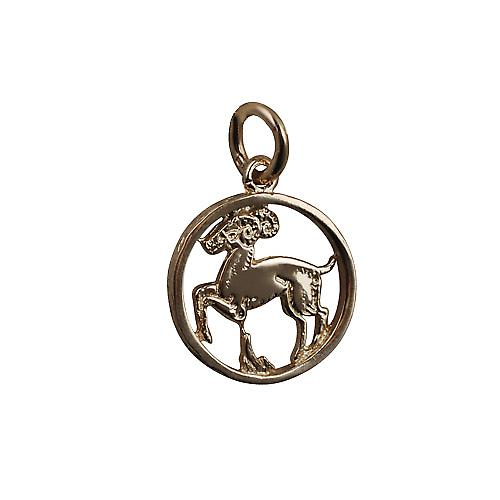 9ct Gold 11mm pierced Aries Zodiac Pendant