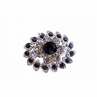 Vintage Black Diamond & Jet Kristall Silber Casting-Mehrzweck-Brosche
