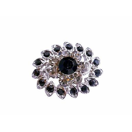 Vintage Black Diamond & Jet Crystal Silver Casting Multipurpose Brooch