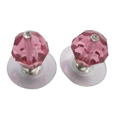 Wedding Swarovski Rose Pink Crystals Stud Earrings Jewelry