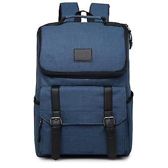 Medium Backpack with details in faux leather-dark blue