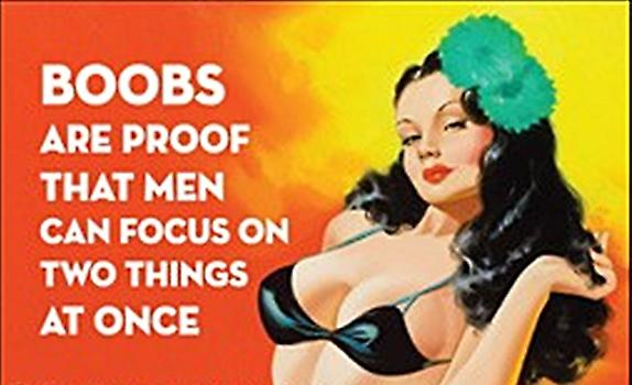 Boobs are proof that men can focus on... funny fridge magnet (ep)