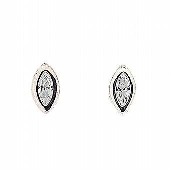The Olivia Collection Sterling Silver Rub Over Marquis Stud Earrings