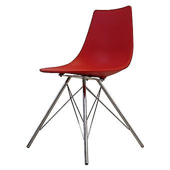 Chaise de salle à manger en plastique rouge iconique de fusion vivante avec des jambes en métal de Chrome